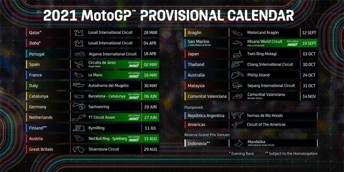 Modifiche al calendario MotoGP 2021