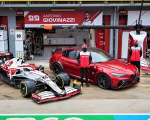 Giulia GTAm ospite di Kimi Raikkonen e Antonio Giovinazzi a Imola